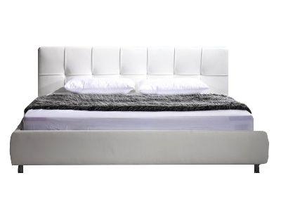 Białe tapicerowane łóżko (PL) / White upholstered bed (EN) by modo4u.pl