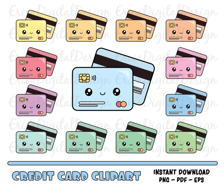 Kawaii credit card clipart set Financial clip art Money ...