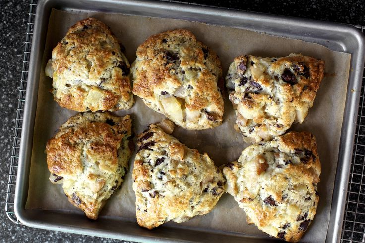 Roasted pears and chocolate chunks in craggy, hearty, tender-centered, crisp-edged, dreamily bronzed scone, please.