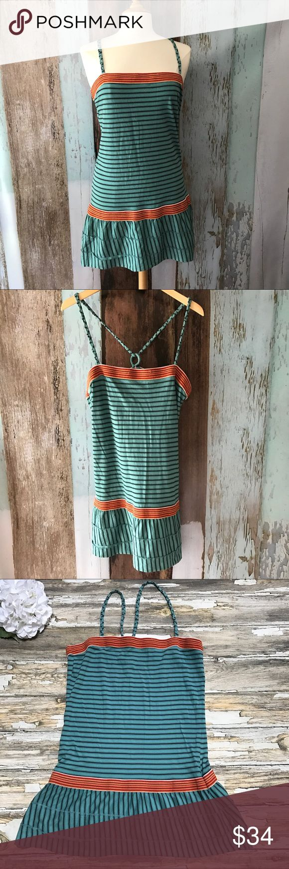 """Free People Dress- Large Free People Dress Womens Soft Knit Festival Striped Woven Hippie Boho  Size: Large Color:  Blue-Green with Black, and Orange / Red Contrast Style: Sundress Pattern / Print: Striped / Woven Contrast Features: Braided Straps, Back Straps Adjust through Ring. Material: 100% Cotton  Measurements:  Underarm to Underarm: 18""""-21"""" Length: 25"""" ( Not including straps, Just Underarm to Hem) #170530-1859 Free People Dresses"""