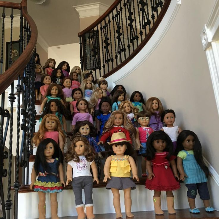 This picture makes me happy. Between my daughter and I, we have 9 American Girl dolls, which I thought was a lot. Then I saw this photo. Wow!!!