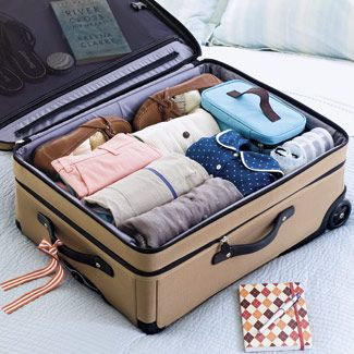 Organizing: Best Case Scenario - Make a list of the necessities (or print one from goodhousekeeping.com/packinglist). Minimize wrinkles by rolling, not folding, three to four pieces together, with knits on the inside; for even better results, wrap the bundle in a dry-cleaning bag. And tie a ribbon on your luggage (not solid red — that's what everyone uses), so it's easier to spot at the airport.
