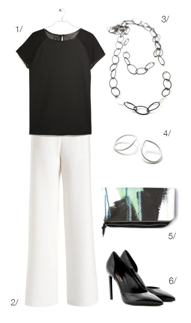 white pants and black accessories perfect for work // click for outfit details /…