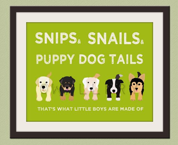 Nursery art print. Boys nursery wall art Puppy dog - but with husky, frenchie, and black dog for dex