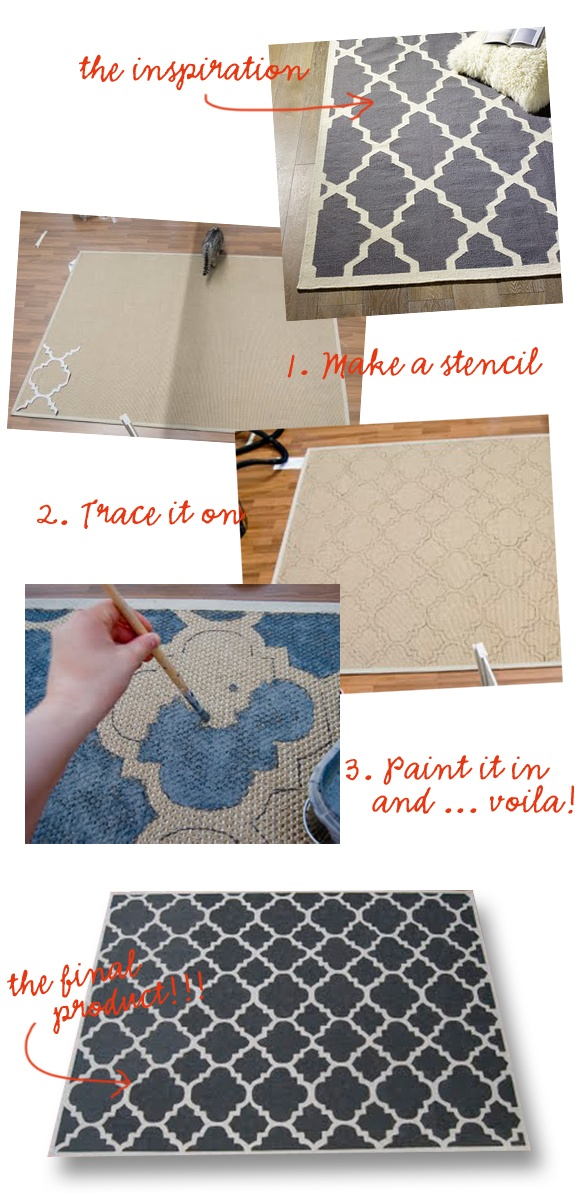 moroccan painted rug--I'm painting my curtains, so why not the rug too!??  Great dining room idea!!