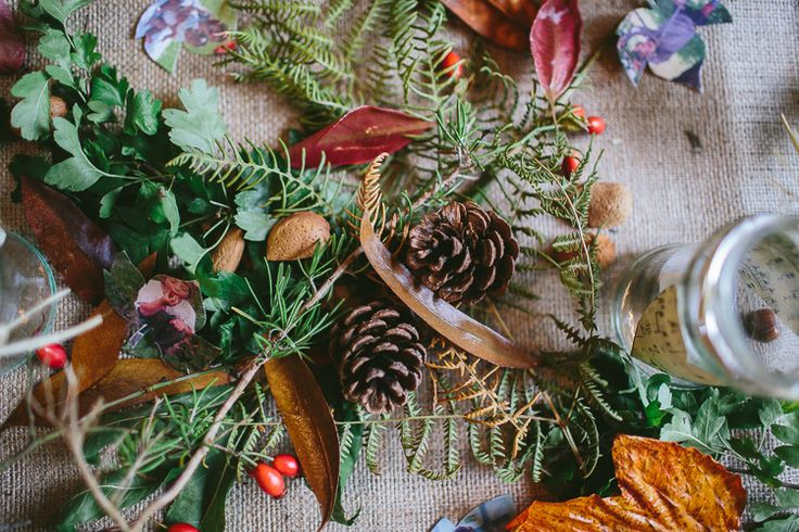 Forest Foliage Woods Pine Cones Natural Rustic Hand Crafted Autumn Wedding http://www.epiclovephotography.com/