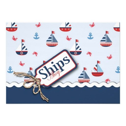 Red White Blue Nautical Ships Ahoy! Baby Shower 2 Custom Invite