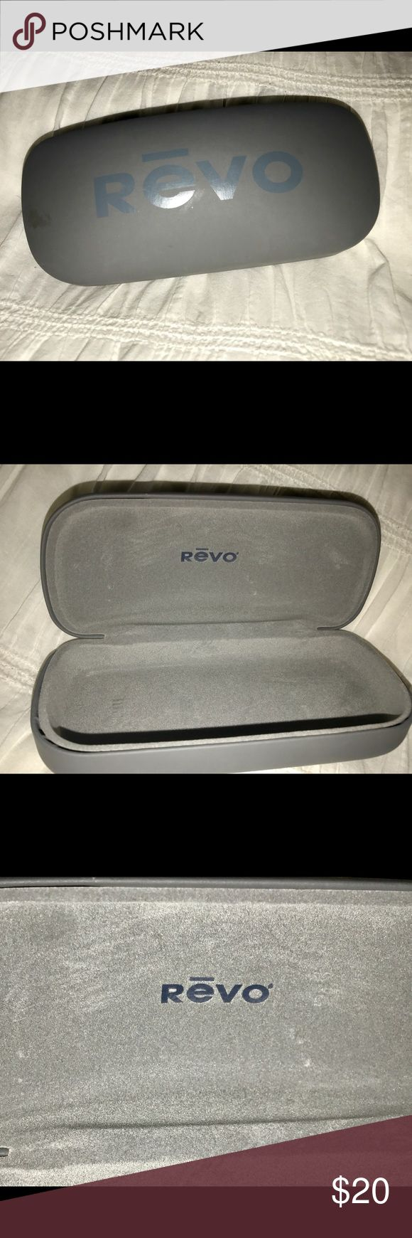 REVO Sunglasses hard case only REVO Sunglasses gray hard case with hinged closure CASE ONLY NO SUNGLASSES!! Does come with a Sunglasses microfiber cleaning cloth with REVO printed on it that has never been used. Gray in color. Only defect is a light scratch near the hinge on the backside that is pictured. Revo Accessories Sunglasses