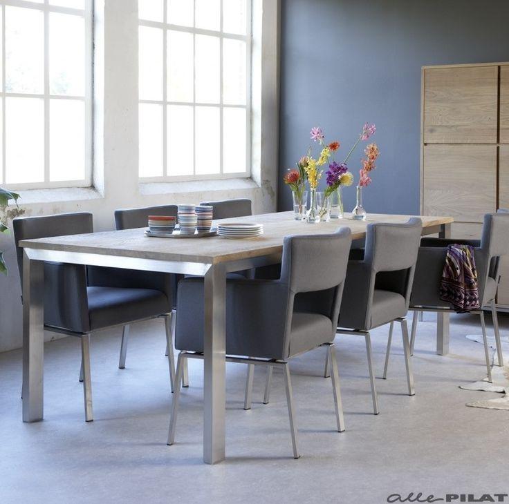 Eiken tafel Lofty met rvs frame - Woonwinkel Alle Pilat