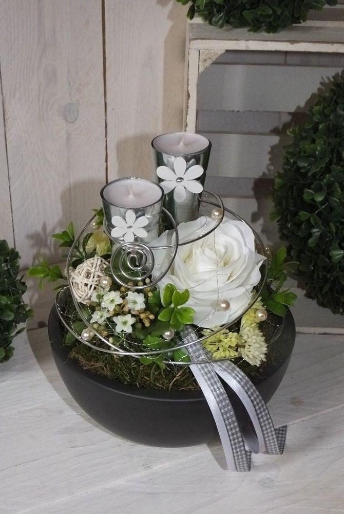 Lilie Tischgesteck Tischdekoration Gesteck weiß-grau Sommer