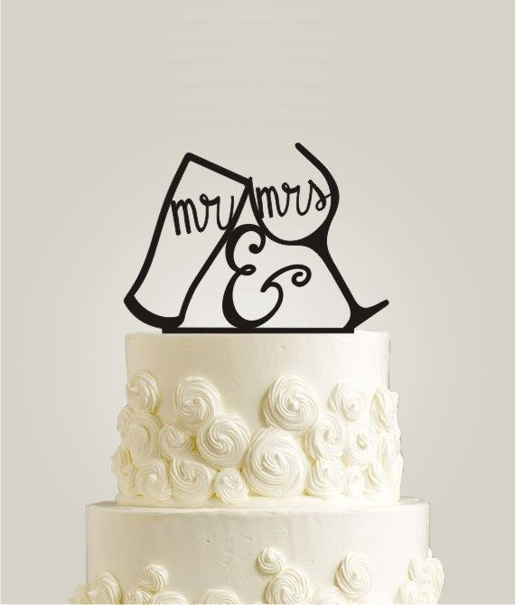 Wedding Cake Topper Mr and Mrs Your Last Name by LaserDesignShop