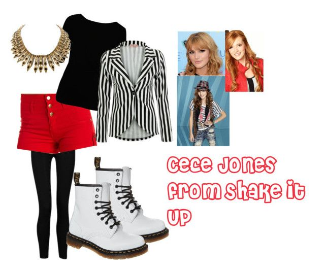 """Cece Jones from Shake it Up"" by anamulvoy-m ❤ liked on Polyvore featuring Influence, Charlotte Russe, Vivienne Westwood Anglomania, Dr. Martens, Disney and House of Harlow 1960"