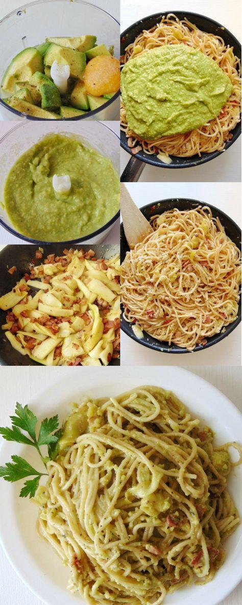 Carbonara de aguacate y calabacín, recetas. #comida #pasta #recetas