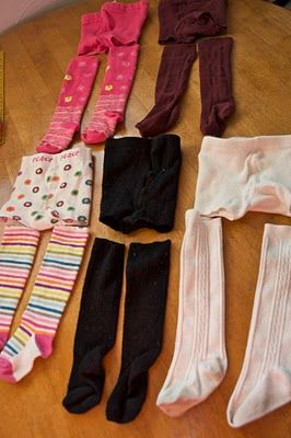 Fun socks. Cut the legs off of too small tights. Add elastic band to top. Can add bows or ruffles as embellishments.