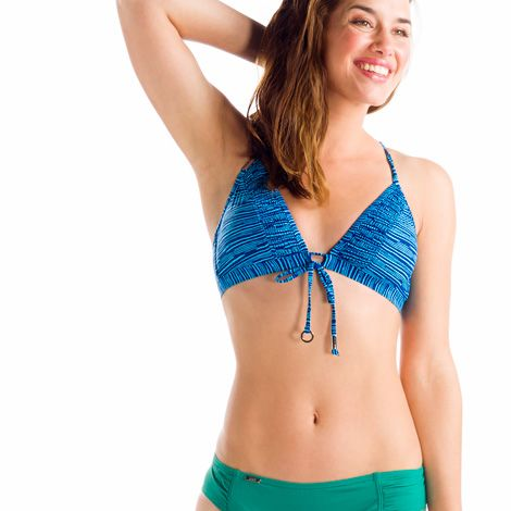"""CEBU TOPThe retro styling of this fixed-triangle beauty just says """"Brigitte Bardot""""! It's a star on the beach in Lolë's Swim Tech fabric, a four-way stretch, chlorine-resistant blend of nylon and elastane with a UPF 50+ factor."""