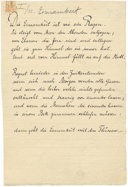 Rilkes Gedicht Einsamkeit. (Handschriftlich, vor 1906.) ähnliche tolle Projekte und Ideen wie im Bild vorgestellt findest du auch in unserem Magazin . Wir freuen uns auf deinen Besuch. Liebe Grüße
