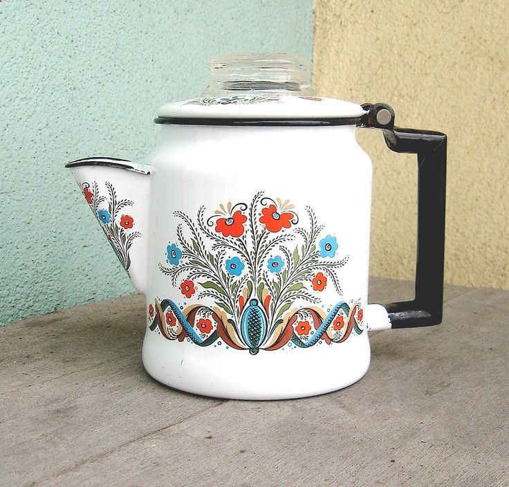 Vintage enamelware coffee percolator -- so cute for camping