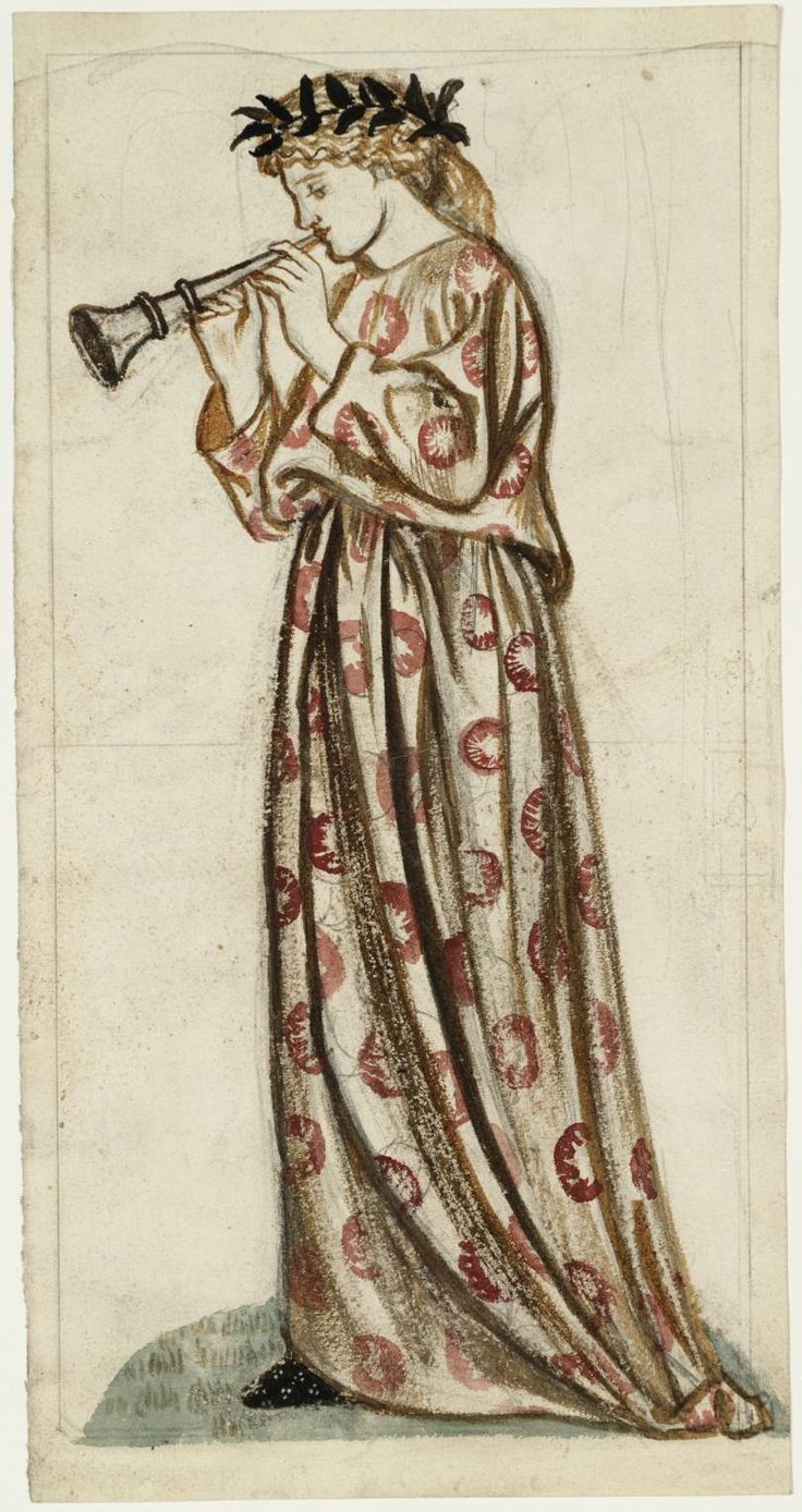 William Morris (1834‑1896) A Girl with a Flute, date not known, Watercolour and graphite on paper