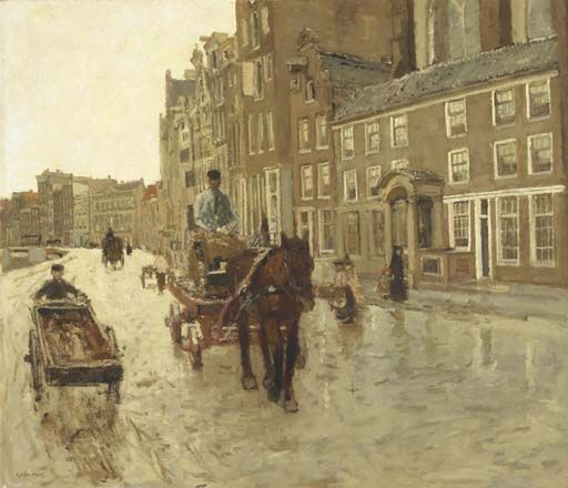Georg Hendrik Breitner (Dutch, 1857-1923)  Rokin with the Nieuwezijdskapel, Amsterdam  c.1904