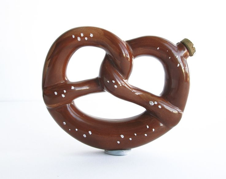 Vintage ceramic pretzel flask from Germany in the Wary Meyers shop.