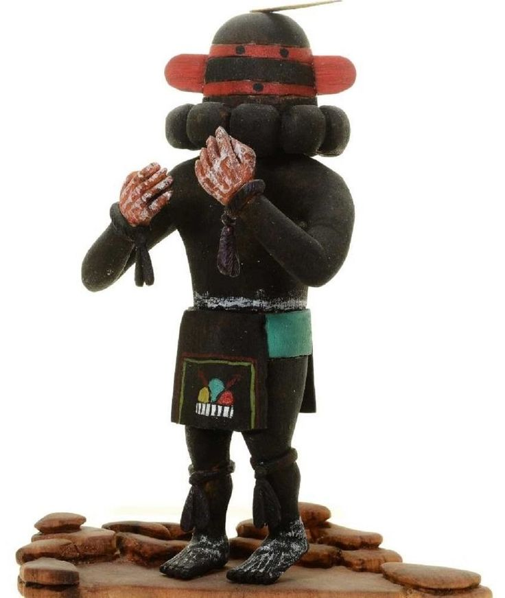 "Hopi Pima Indian Carved 7.5"" Sprinter Racer Kachina Doll Sculpture by Sam Tewa"