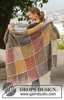 """Knitted DROPS blanket in garter st with squares in 2 strands """"Alpaca"""". ~ DROPS Design"""