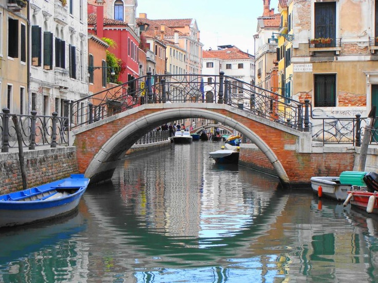 Venice canal bridge-My twins and I were in a gondola here--being serenaded