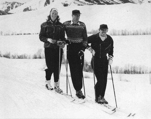 Ingrid Bergman, Gary Cooper and Clark Gable going skiing together in 1946