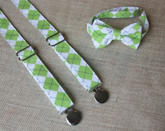 Bright Lime Green Argyle Plaid Bow Tie and Suspenders set Easter ( Men, boys, baby, toddler, infant Suspender and Bowtie )
