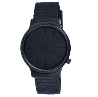 Black 'Wizard' Heritage Series Watch from Komono - Japanese Quartz Movement, Brushed Metal Case , Stainless Steel Back, Water Resistant 3atm $89  Nylon Wristband With Genuine Leather Details