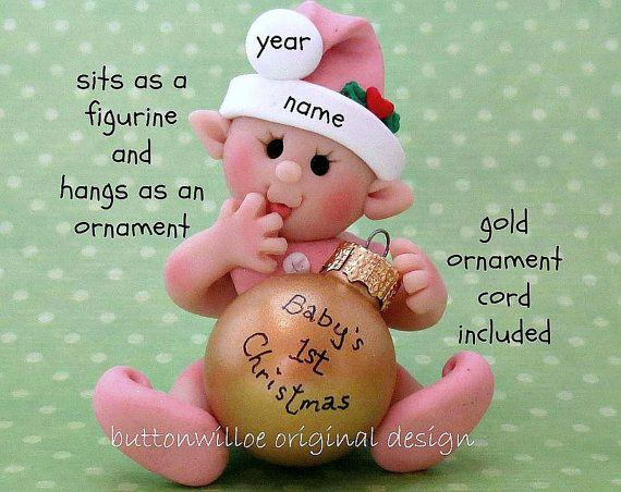 Ornamento di Natale del bambino primo 1 ° Natale elfo del bambino personalizzato, Gnome, fata, bambina, rosa chiaro on Etsy...