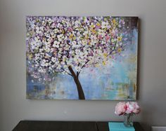 pintura, pintura de flores, flores de cerezo, árbol floreciente, arte abstracto moderno, cerezos en flor, naturaleza, pintura de acrílico Original del árbol
