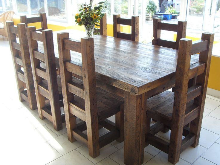 Reclaimed Solid Wood Dining Table and Chairs - Use J/K to navigate to previous and next images