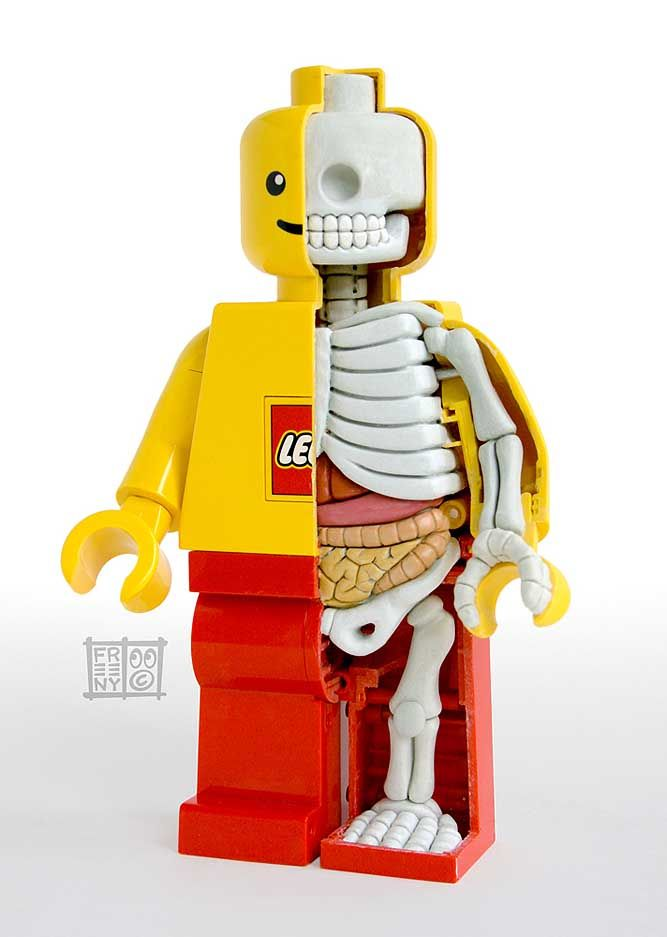 So this may be a little disturbing...But one must appreciate the creativity & attention to detail that went into this Lego man skeleton (a Legoleton?) by talented model designer, Jason Freeny.