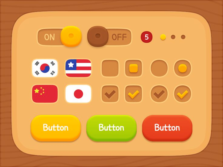 GUI Kit Wooden Elements by LayerLab