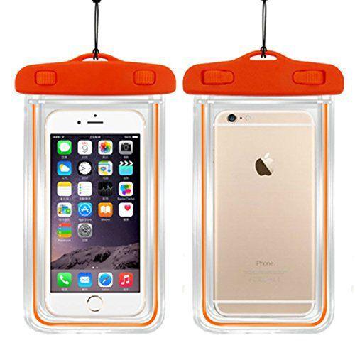 Sac étanche téléphone avec lumières de nuit, Sac transparent écran tactile smartphone pour nager plage parc aquatique, canoter, pêche,…