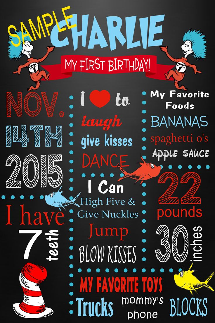 Dr. Seuss milestone poster, thing one thing two
