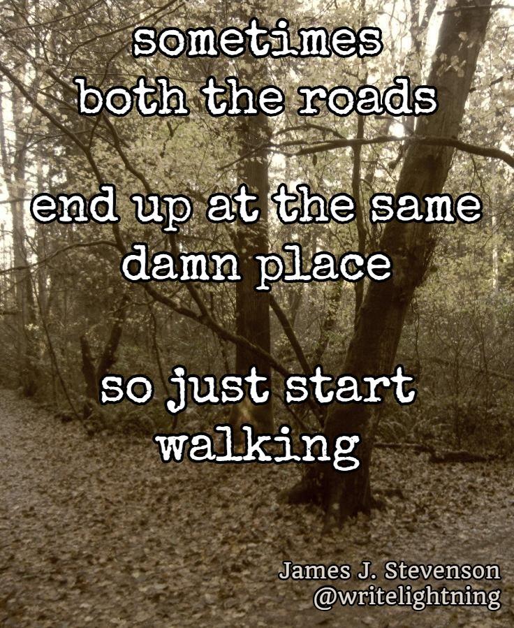 """Robert Frost """"Road Less Travelled"""" inspired haiku. Poetry by James J. Stevenson. For more: http://writelightning.tumblr.com/ and https://twitter.com/writelightning"""