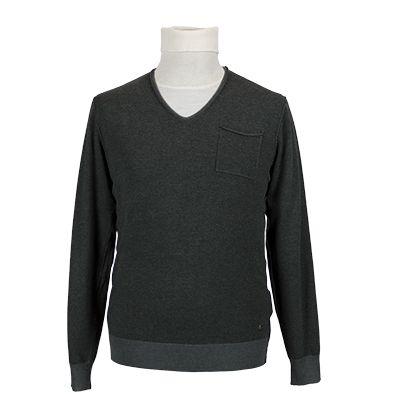 Maglia con collo a v e contrasti - Grigio antracite - Invernale. € 33,20. #hallofbrands #hob #maglia #sweater #jersey #knitwear #invernale #wintry #winter