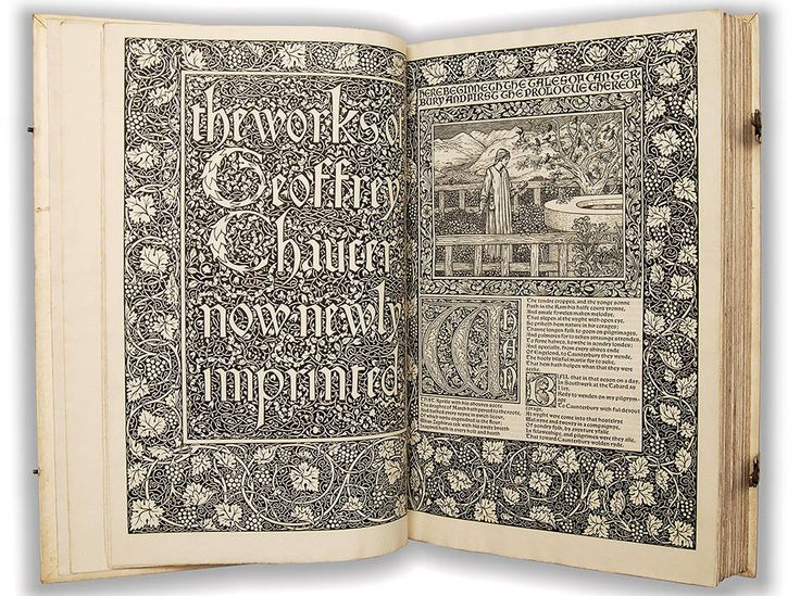 The finest achievement of the Kelmscott Press— The Works of Geoffrey Chaucer, designed by Morris and illustrated by Edward Burne-Jones.