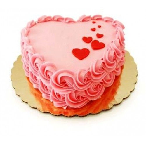 Heart shape cake with flowers decortation on side. You can send customized cake by choosing flavour of your choise and writing romantice message on it.  Total weight of cake: 1 KG  It may take, 3-4 hour for its prepration and delivery across Jaipur. It can also be delivered same day in other cities of Rajasthan. Kindly place the order accordingly.