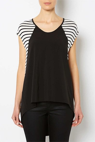 Tops | Women's tanks, lace camis, T Shirts & more| Witchery Online - Woven Front Stripe T-Shirt #witcherywishlist