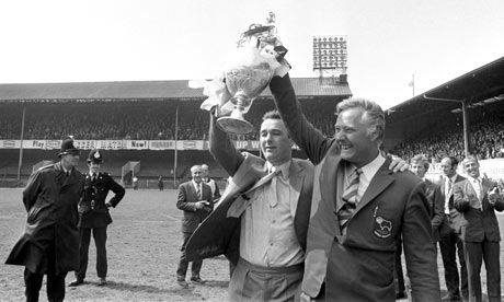 The Godlike genius of....Derby County's Brian Clough and Peter Taylor celebrate with the Division One title 1971-72 season.