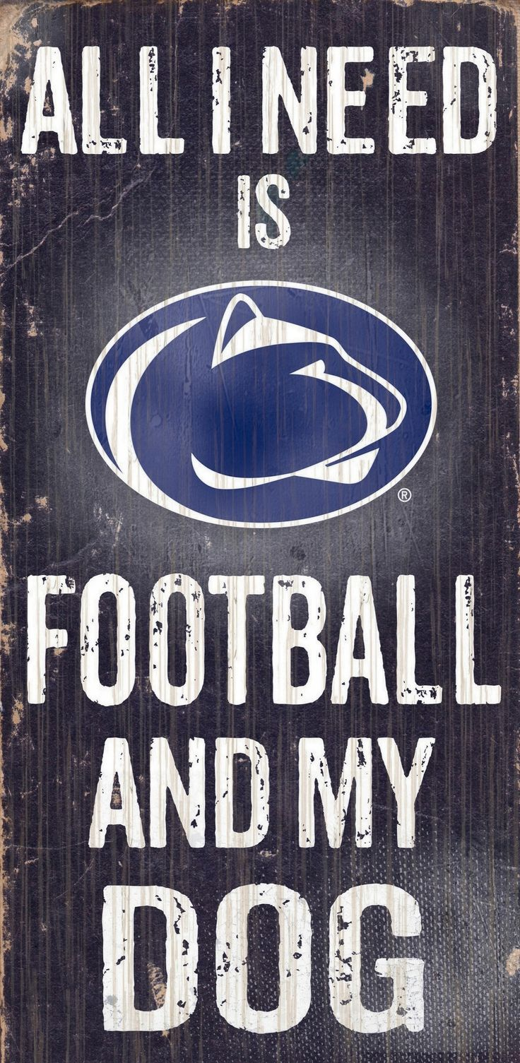 """Penn State Nittany Lions Wood Sign - Football and Dog 6""""x12"""""""