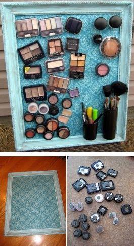 DIY - Bien ranger son maquillage avec un tableau magnétique