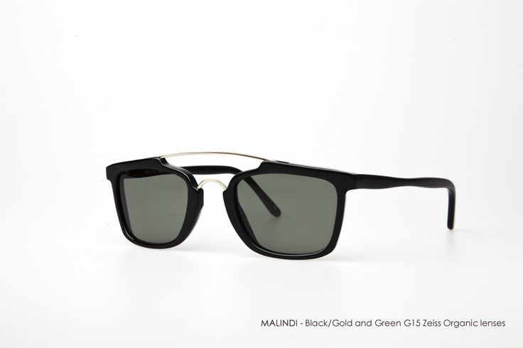 MALINDI in Black/Gold with Green G15 Zeiss Organic lenses