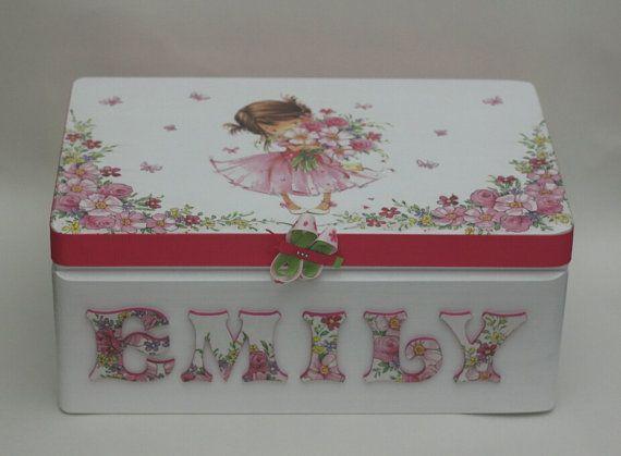 Wooden personalized baby keepsake box