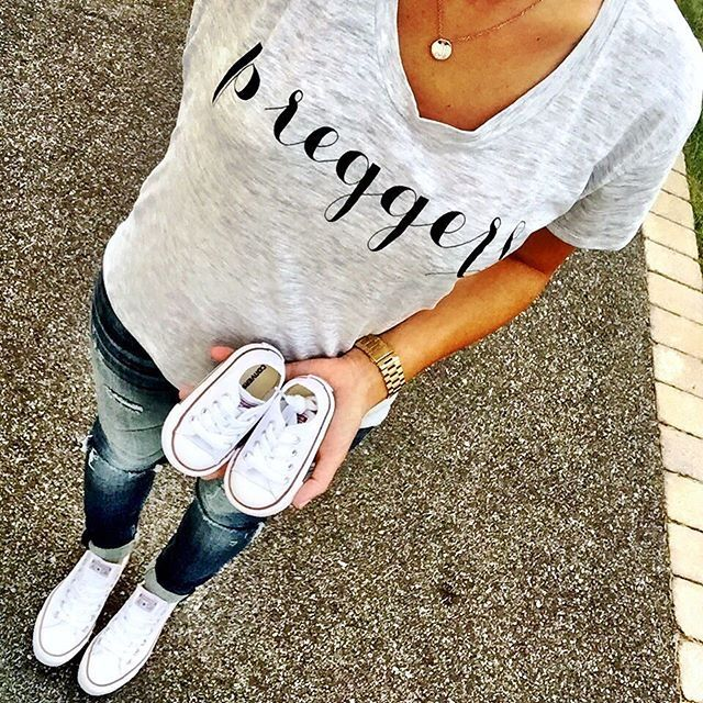 IG @mrscasual <click through to shop this look> ily couture preggers tee. Vigoss tomboy jeans. White baby converse.