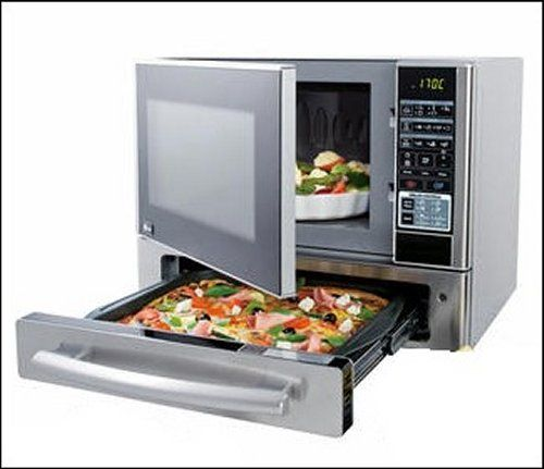 Microwave Oven with a Pizza drawer... This microwave is for serious pizza lovers only. It makes reheating pizza easy. It's a microwave oven with a built in pizza oven drawer underneath. The Stainless Steel Kenmore 1.1 cu. ft. Countertop Microwave & Pizza Oven with a Pizza Drawer Underneath has all of your standard microwave features. Where's the frig for beer? ... #Cookware #KitchenEquipment #Kitchen #Design #KitchenGadgets