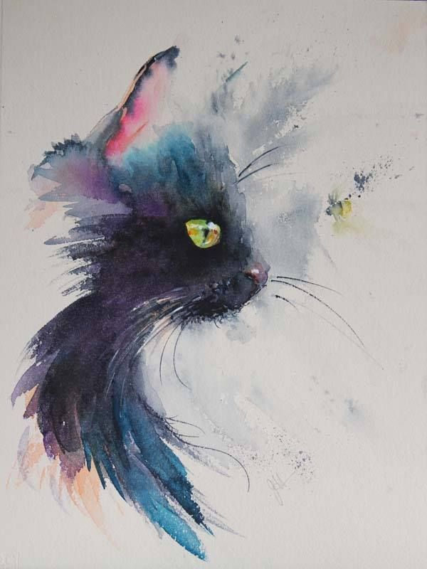 Aquarelle Chat Noir Watercolor Cat Cat Art